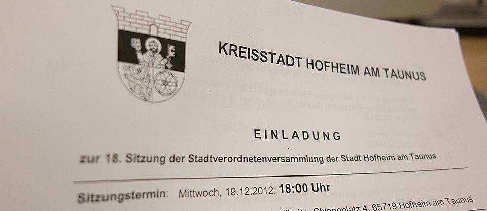 Einladung Stadtverordnetenversammlung