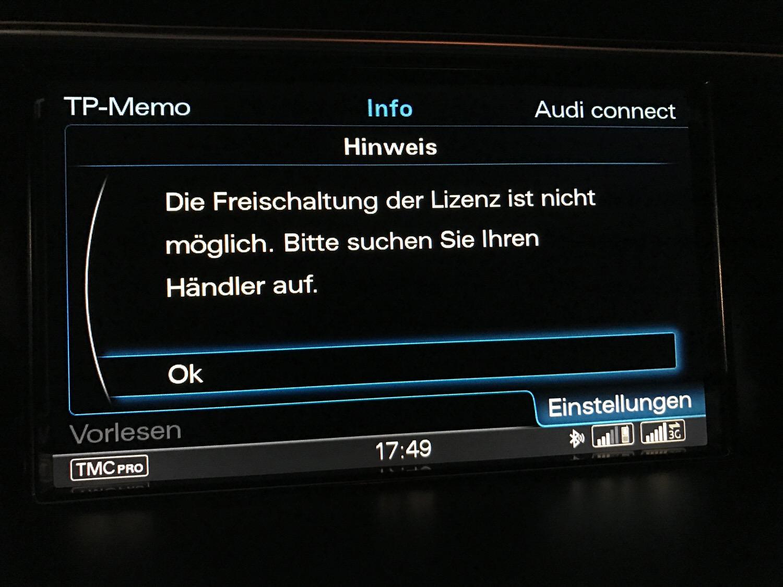 Zur Verlängerung der Online-Verkehrsdatenlizenz beim Teiledienst anstellen, oder wie Audi die Digitalisierung nicht verstanden hat.
