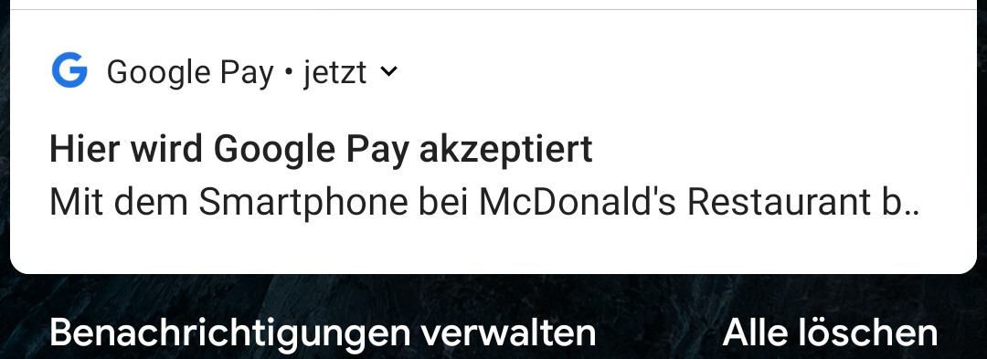 Notification on availability of Google Pay
