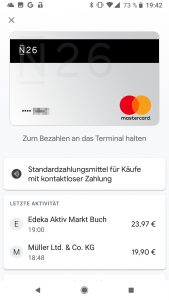 Screenshot Google Pay Germany Google Pixel 2 N26 Bank